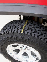 Chalk line on the tire