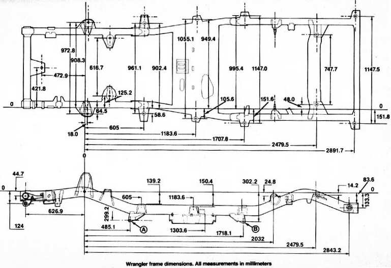 jeep_yj_frame_dimensions 1998 jeep wrangler frame diagrams the portal and forum of wiring
